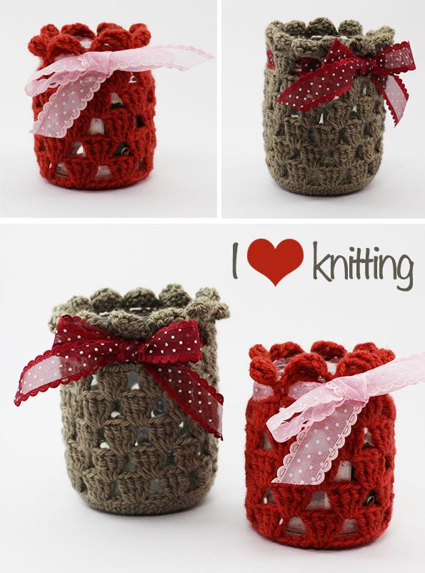 I <3 Knitting - Portavelas handmade