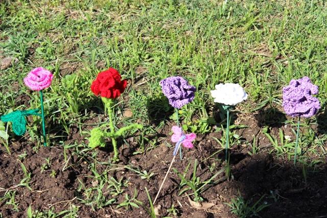 Detalle de las flores de ganchillo adorables