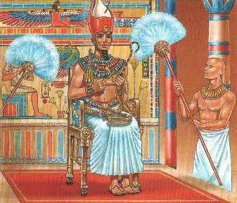 Pintura de un Faraón siendo abanicado :)